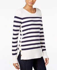 Maison Jules Striped Button Detail Sweater Only At Macy's Blu Notte Combo