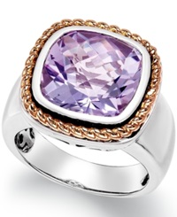 Macy's Amethyst Pendant Ring 6 Ct. T.W. In 18K Rose Gold And Sterling Silver