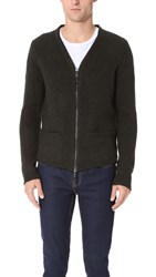 Blk Dnm Zip Cardigan 20 Military Green