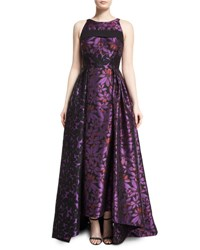 J. Mendel Sleeveless Open Back Floral Jacquard Gown Mulberry Black Mulberry Noir