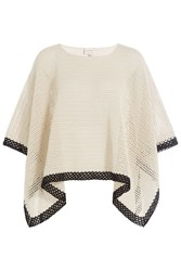 Zeus Dione Knit Cotton Poncho Beige