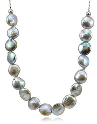 Lord And Taylor 12Mm Peacock Round Coin Pearl Slider Necklace Grey