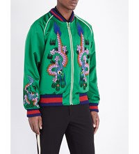 Gucci Dragon Embroidered Silk Bomber Jacket Green Gard