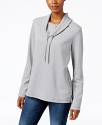 Karen Scott Funnel Neck Top Only At Macy's Smoke Grey Heather
