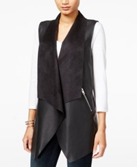 Bar Iii Faux Leather Flyaway Vest Only At Macy's Deep Black