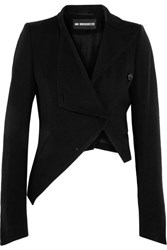 Ann Demeulemeester Asymmetric Wool And Cotton Blend Jacket Black
