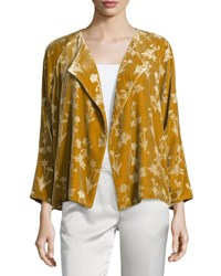 Elizabeth And James Audrey Floral Velour Open Front Jacket Bronze
