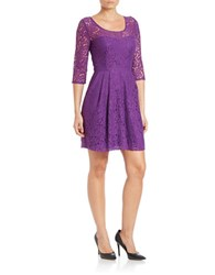Betsey Johnson Lace Fit And Flare Dress Plum