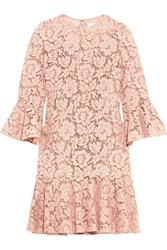 Valentino Ruffled Corded Cotton Blend Guipure Lace Mini Dress Blush