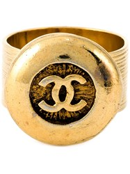 Chanel Vintage Logo Signet Ring Metallic