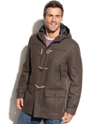 Nautica Wool Blend Hooded Toggle Coat Loden