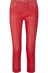 Etoile Isabel Marant Nico Cropped Linen And Cotton Blend Straight Leg Pants Red