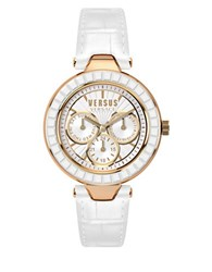 Versus By Versace Sertie Rose Goldtone White Leather Strap Multifunction Watch Sos030015