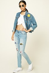 Forever 21 Distressed Patch Skinny Jeans