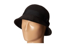 San Diego Hat Company Cth3714 Faux Wool Felt Cloche With Matching Grosgrain Band Bow Black Traditional Hats