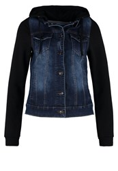 Twintip Denim Jacket Dark Blue And Black