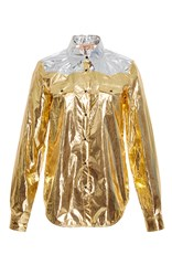 N 21 No. Metallic Western Style Shirt Gold