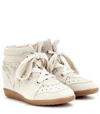 Isabel Marant Etoile Bobby Suede Wedge Sneakers Neutrals