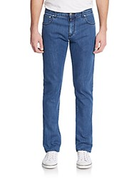 Isaia Paisley Cuffed Slim Fit Jeans Blue Denim