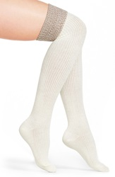 Hue Ribbed Over The Knee Socks Ivory