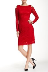 Marina Long Sleeve Cold Shoulder Lace Dress Red