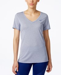 Nike Legend Veneer V Neck Dri Fit T Shirt Deep Royal Blue