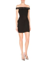 Roland Mouret Embellished Off The Shoulder Mini Dress Black