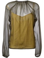 Rochas Bishop Sleeve Sheer Blouse Green