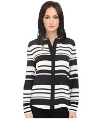 Kate Spade Cape Stripe Silk Shirt Black Cream Women's Clothing