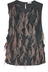 Brunello Cucinelli Feather Embellished Silk Blend Top Charcoal