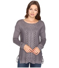Brigitte Bailey Garnet Pullover W Mixed Cable Lace Dark Heather Women's Clothing Gray