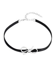 Nadri Crystal Pave Bow Accented Choker Necklace Silver