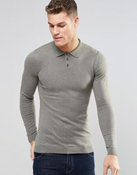 Asos Fitted Fit Knitted Polo In Cotton Slate Moss H