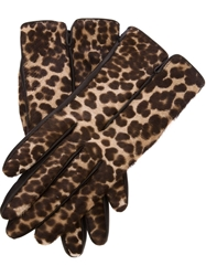 Lanvin Leopard Print Gloves Black