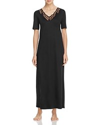 Hanro Valencia Short Sleeve Long Gown Black