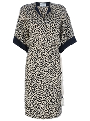 Gianfranco Ferre Vintage Leaf Print Dress Nude And Neutrals