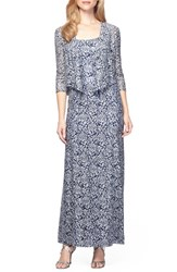 Alex Evenings Women's Sequin Embroidered Mesh A Line Gown And Jacket Navy White