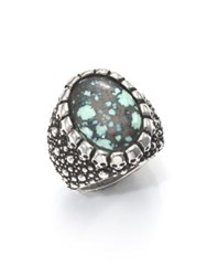 King Baby Studio Stingray Turquoise And Sterling Silver Ring Silver Turquoise