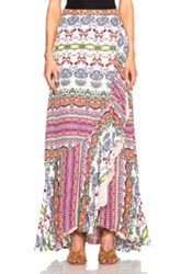 Etro Maxi Ruffle Skirt In Abstract Pink