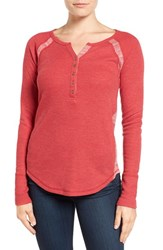 Lucky Brand Women's Pieced Thermal Henley Rio Red