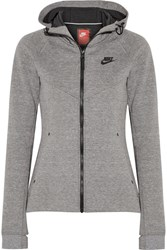 Nike Tech Fleece Cotton Blend Jersey Hooded Top Gray