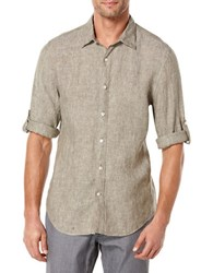 Perry Ellis Short Sleeved Button Front Linen Chambray Shirt Burnt Olive
