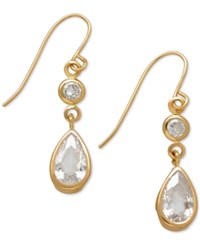 Macy's Cubic Zirconia Double Drop Earrings In 14K Yellow White Or Rose Gold