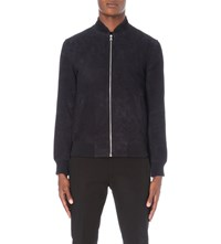 Reiss Sussex Suede Jacket Navy