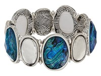 The Sak Set Stone Stretch Bracelet Abalone Bracelet Beige