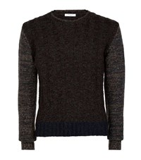 Boglioli Woven Wool Blend Sweater Male Dark Grey