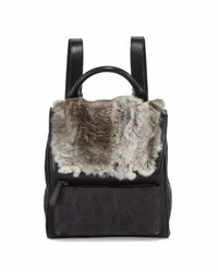Adrienne Landau Rabbit Fur Canvas Mini Backpack Gray