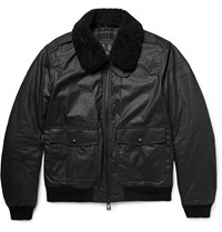 Belstaff Mortimer Shearling Trimmed Waxed Cotton Bomber Jacket Black
