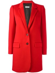 Alberto Biani Single Breasted Mid Coat Red