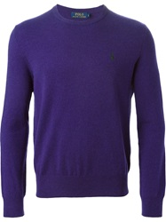 Polo Ralph Lauren Logo Embroidered Sweater Pink And Purple